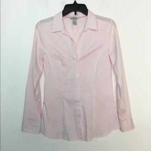 H & M 8 Dress Shirt Pin Striped Pastel Pink EUC
